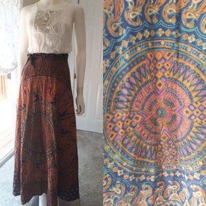 Vintage 1970s Indian Cotton Boho Hippy Maxi Skirt